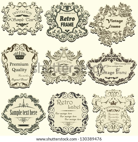 Vector set of calligraphic design frames