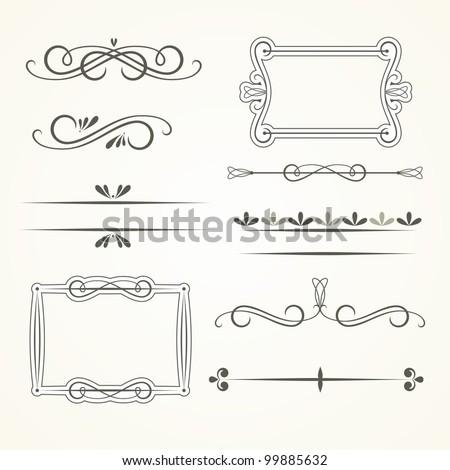 Vector set of calligraphic elements - stock vector