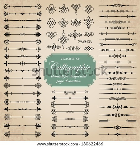 Vector set of calligraphic elements for design and page decoration - stock vector