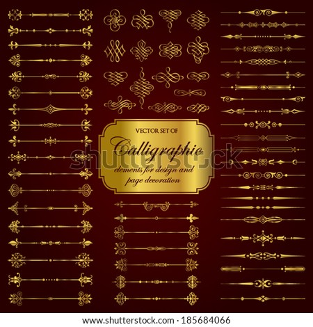Vector set of calligraphic elements for design and page decoration in gold - stock vector
