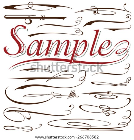 vector set of calligraphic elements for design inscriptions in vintage style - stock vector