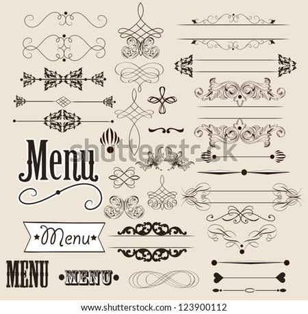 Vector set of calligraphic elements for your design. Calligraphic vector - stock vector