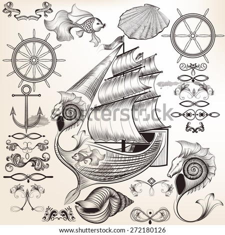 Vector set of calligraphic elements on sea vacation theme for design - stock vector