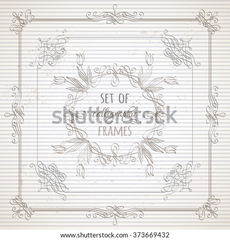 Vector set of calligraphic frames. Hand-drawn ornaments, design elements, flourishes, page decorations and dividers on striped vintage paper. Can be used for invitations and congratulations. - stock vector