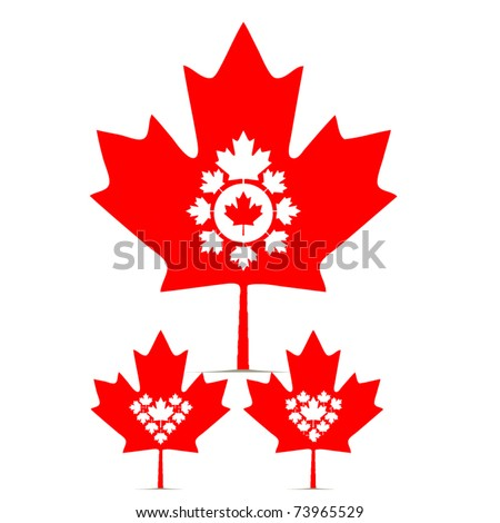 vector set of canada maple leaf - stock vector