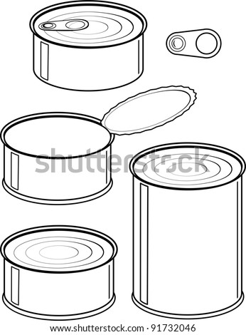 Vector set of cans - canned food - isolated illustration black contour on white background - stock vector