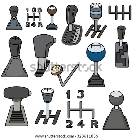 vector set of car transmission - stock vector