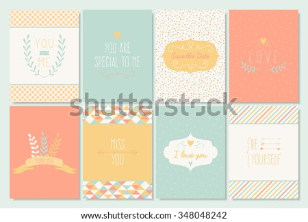 Vector set of 8 card templates for wedding, marriage, save the date, greeting, invitations, Valentine's, birthday - stock vector