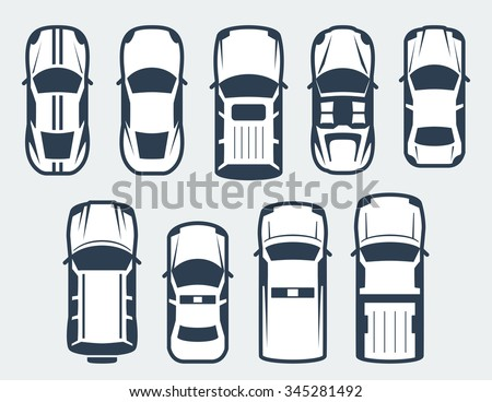 Vector set of cars - top view - stock vector