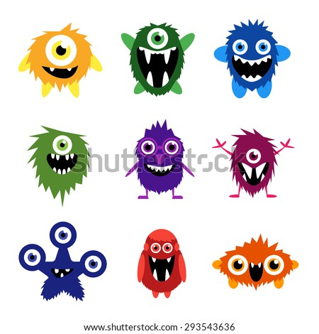 Vector set of cartoon cute monsters and aliens. - stock vector