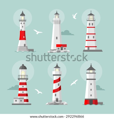 Vector set of cartoon flat lighthouses. Searchlight towers for maritime navigational guidance - stock vector