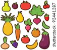 Vector Set of Cartoon Fruits and Vegetables - stock vector