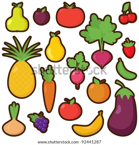 Vector Set of Cartoon Fruits and Vegetables