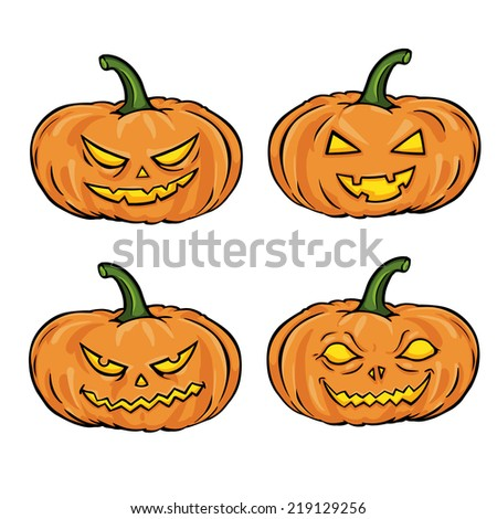 Vector Set of Cartoon Halloween Pumpkins - stock vector