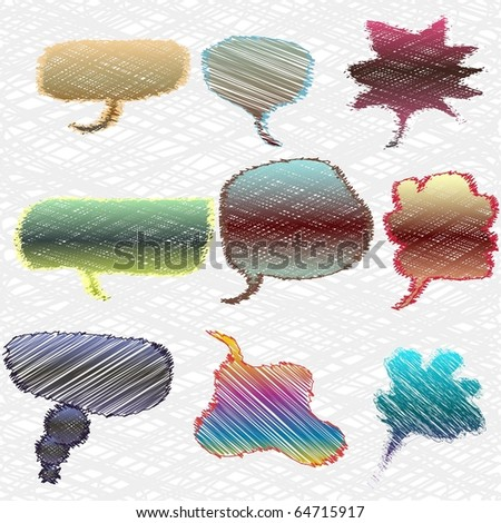 Vector set of cartoon ideas and speeches. EPS 8 - stock vector