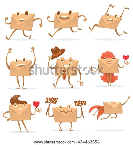 Vector set of cartoon images of different beige envelopes with eyes, arms and legs standing on a white background. Different types of letters. Icon e-mail. Vector illustration.