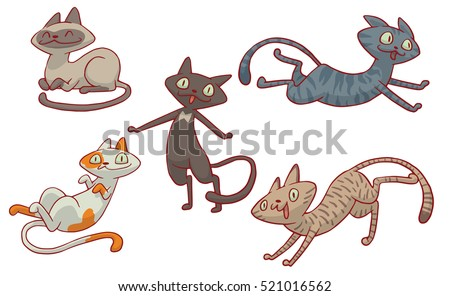 Vector set of cartoon images of five cute different cats of different color with different actions and emotions on a white background. Pet. Vector illustration. Positive character.