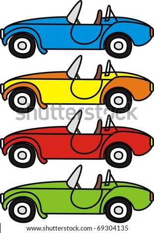 Vector set of cartoon retro cars - isolated illustrations on white background - stock vector