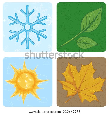 Vector Set of Cartoon Square Season Icons. Winter, Spring, Summer, Autumn. - stock vector