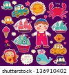 Vector set of cartoon stickers: boy and toys. Happy birthday card - stock vector
