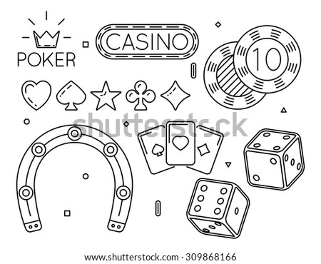 Vector set of casino and poker club line icons. Game symbol, gambling play, fortune and luck illustration