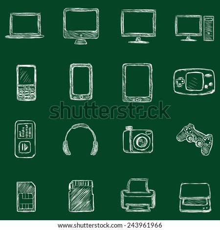 Vector Set of Chalk Computer Devices Icons - stock vector