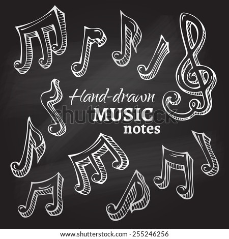 Vector set of chalk music icons. Hand-drawn sketch music notes on blackboard background.  - stock vector