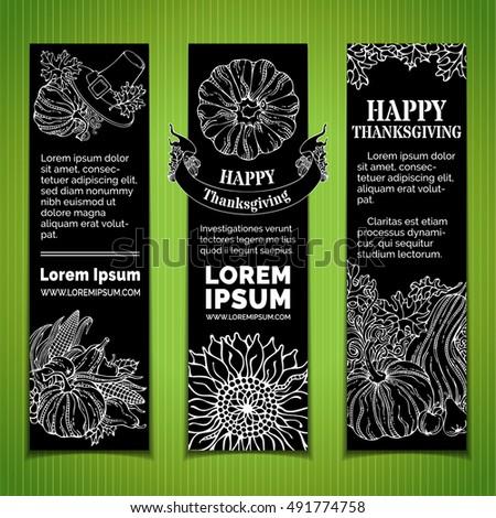 Vector Set Of Chalk Thanksgiving Vertical Banners Pilgrims Hat Pumpkin Corn Wheat