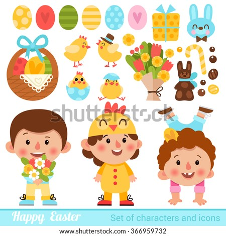 Vector set of characters and icons on the Easter theme in cartoon style. Cute and funny kids on Easter costumes. Traditional Easter Icons.