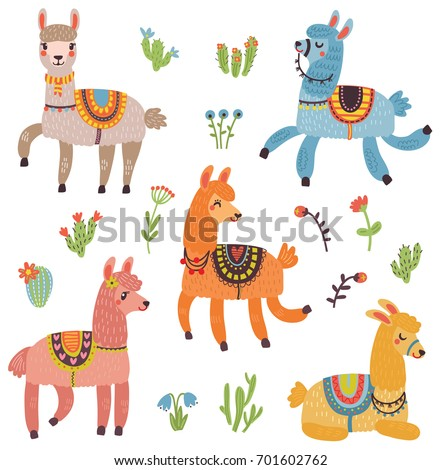 Vector set of characters. 5 Cute Lamas