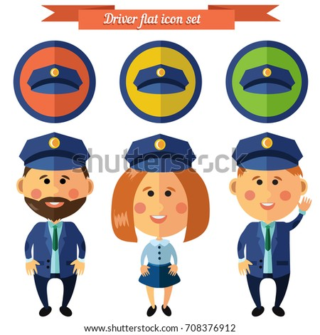 Vector set of characters in flat style. Driver woman and man driver.