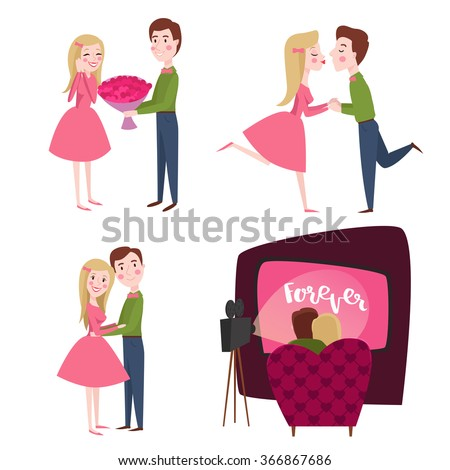Vector set of characters lovers on Valentines day. Illustration of cute and stylish young people for card, design a party - stock vector