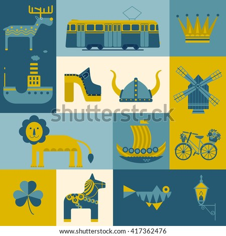 Vector set of characters with elements of Swedish design. Town Hall. A lion. Horse Dali. Vikings. It could be used for greeting cards, invitations, posters, flyers and other printed materials. - stock vector