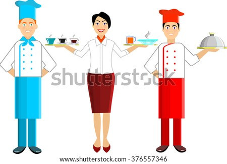 Vector set of chef and waiters, girls and men. With trays on their hands - stock vector