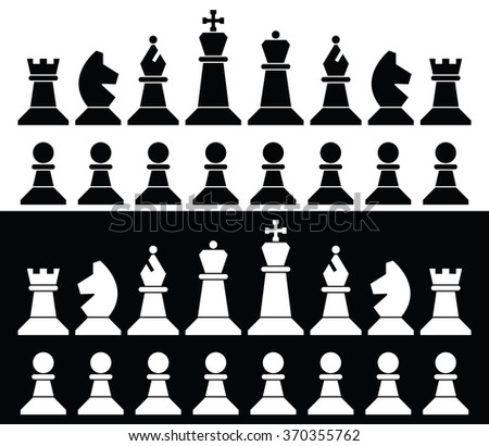 vector set of chess pieces icons