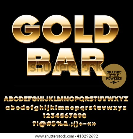 Vector set of chic gold alphabet letters, numbers and punctuation symbols. Sans ultra bold style - stock vector