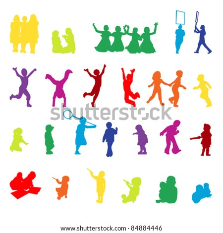 Vector set of children playing silhouettes - stock vector