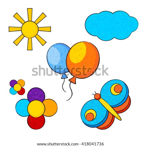 vector set of children's drawings. Sun, cloud and balloons in cartoon style. colorful isolated flowers and butterfly.