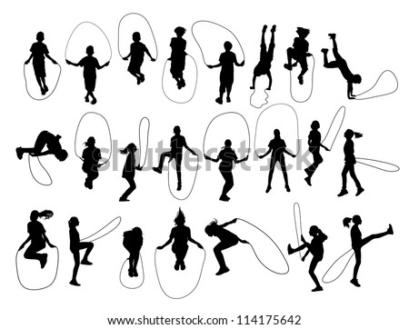 Vector Set of children shapes jumping rope - stock vector