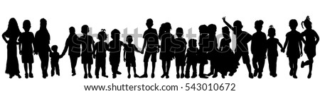 vector set of children silhouettes dancing, each edited separately