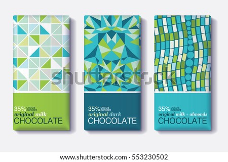 Vector Set Of Chocolate Bar Package Designs With Geometric Mosaic Patterns. Editable Packaging Template Collection.