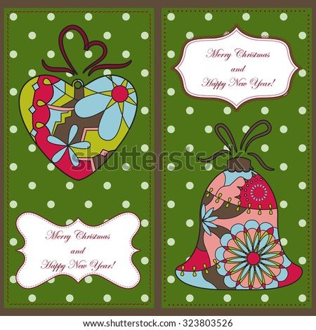 Vector set of christmas and new year cards with toys