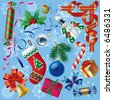 Vector set of Christmas and New-Year's decorations (objects, background and border elements) - stock vector