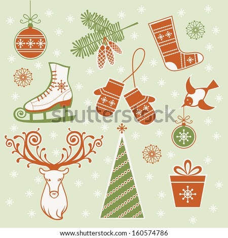 Vector set of christmas and winter design element. Christmas tree and decoration, branches of fir, ice skates, mittens, sock, bird, head of deer, gift box with bow. Simple illustration for print, web - stock vector
