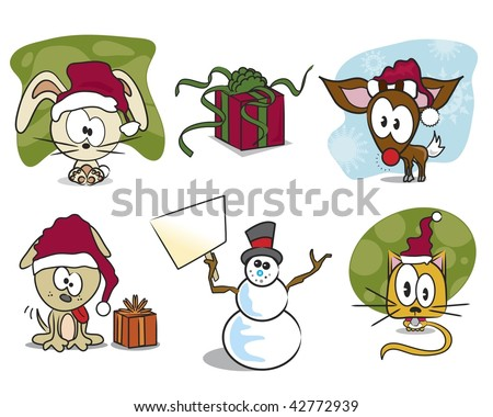 Vector set of Christmas animals, snowman, and gift /present.