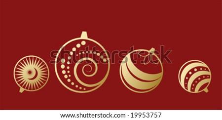 vector set of christmas ball - stock vector