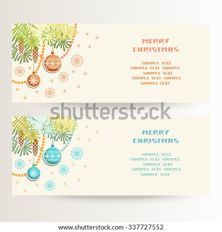 Vector set of Christmas banner with snowflakes and decoration. Festive template with text box for greeting, invitation, discount card. Holiday illustration for print, web