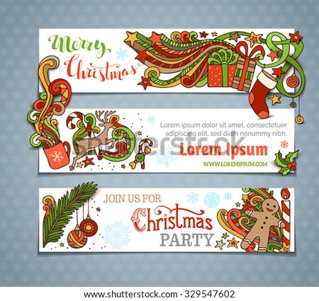 Vector set of Christmas banners. Christmas tree and baubles, Santa sock, hand-written text, holly berries, gifts, candle, candy canes, gingerbread man, deer, sweets, ribbons, stars, cup, candle. - stock vector