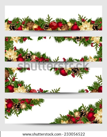 Vector set of Christmas banners with fir branches, balls, holly, poinsettia and cones. - stock vector