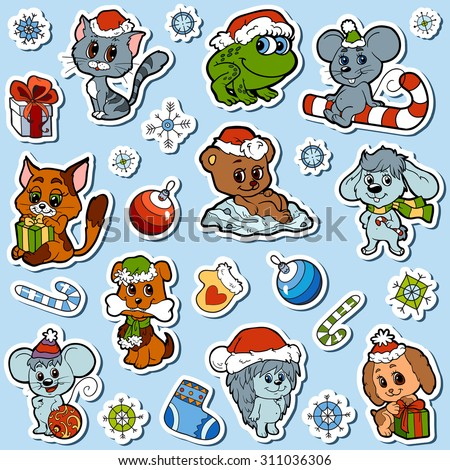 Vector set of Christmas cute animals, color cartoon collection, colorful stickers with little animals and winter objects - stock vector